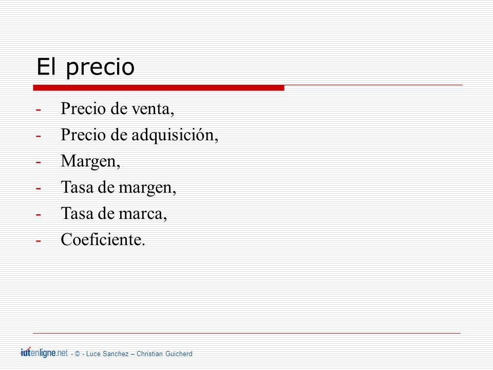 - © - Luce Sanchez – Christian Guicherd El precio -Precio de venta, -Precio de adquisición, -Margen, -Tasa de margen, -Tasa de marca, -Coeficiente.