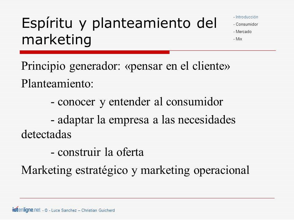 - © - Luce Sanchez – Christian Guicherd Posición del marketing dentro de la empresa Producción Personal Finanzas Personal Finanzas Producción Marketing Cliente Marketing - Introducción - Consumidor - Mercado - Mix