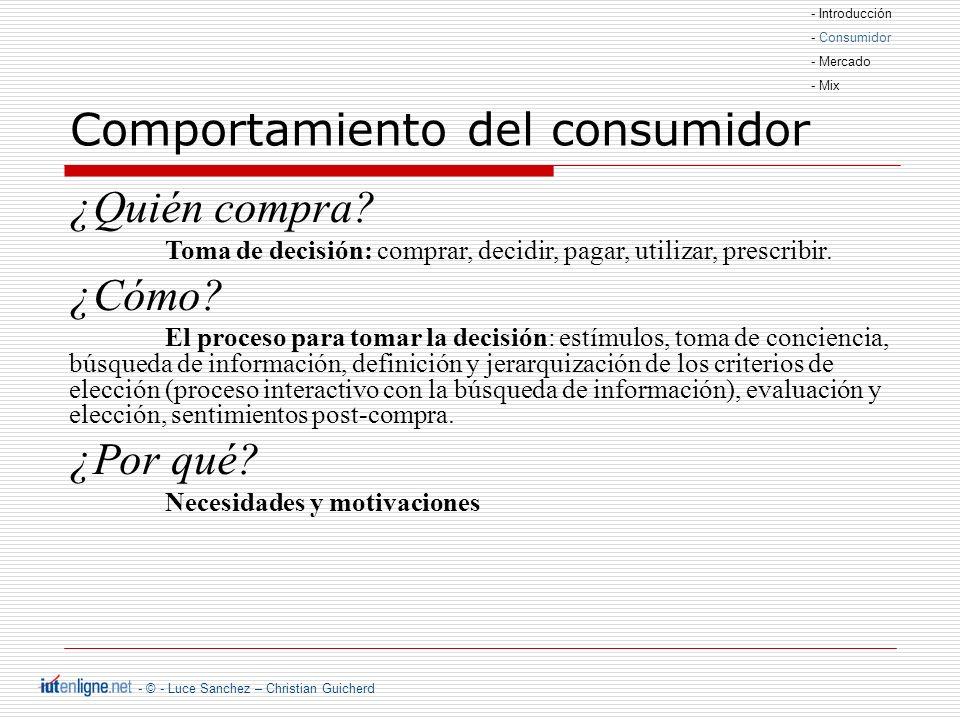 - © - Luce Sanchez – Christian Guicherd Comportamiento del consumidor ¿Quién compra.
