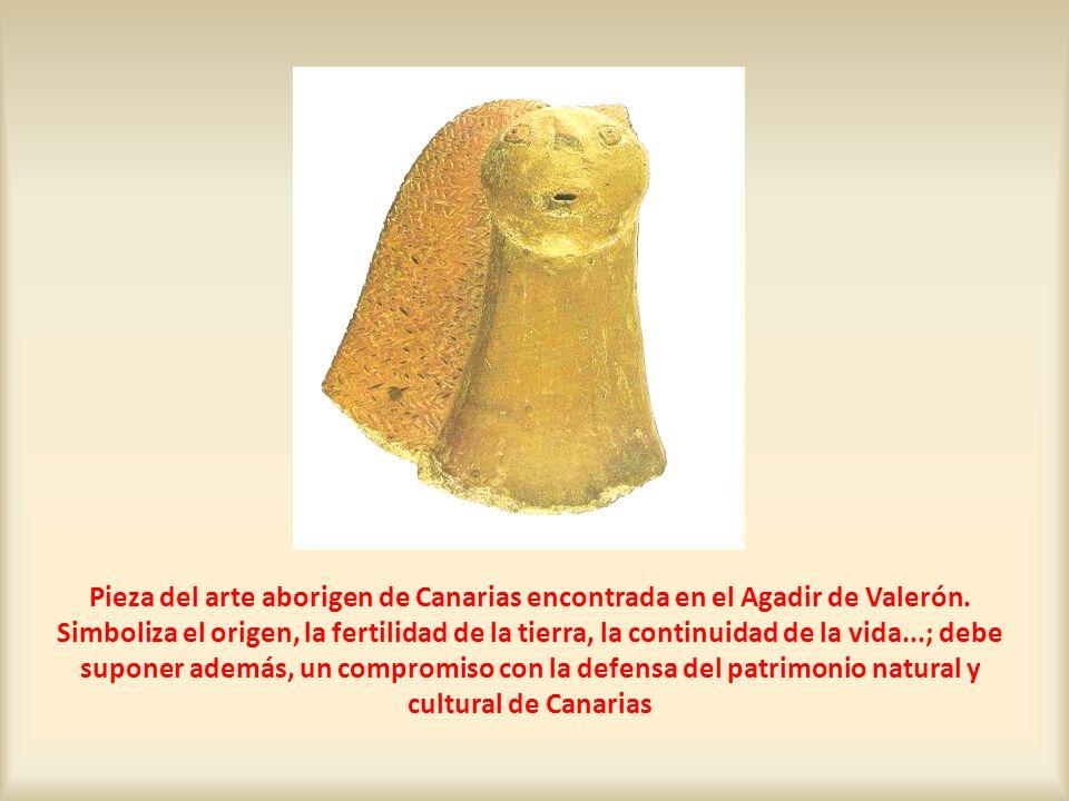Pieza del arte aborigen de Canarias encontrada en el Agadir de Valerón. Simboliza el origen, la fertilidad de la tierra, la continuidad de la vida...;