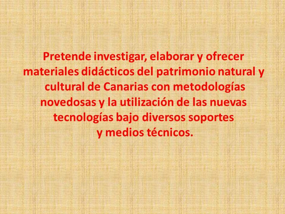 Pretende investigar, elaborar y ofrecer materiales didácticos del patrimonio natural y cultural de Canarias con metodologías novedosas y la utilizació
