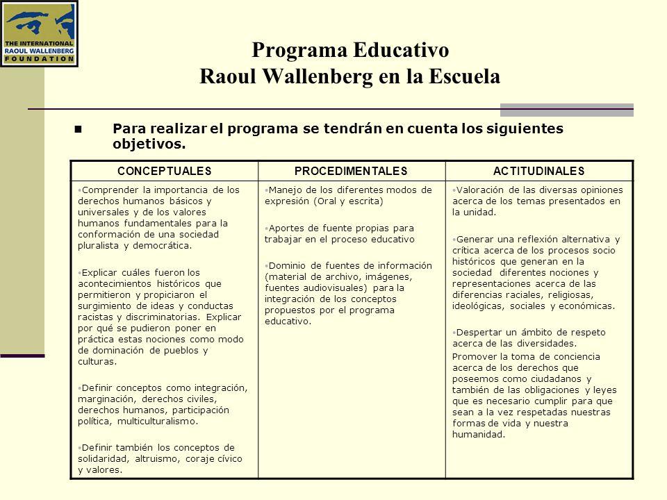 Programa Educativo Raoul Wallenberg en la Escuela Para realizar el programa se tendrán en cuenta los siguientes objetivos. CONCEPTUALESPROCEDIMENTALES