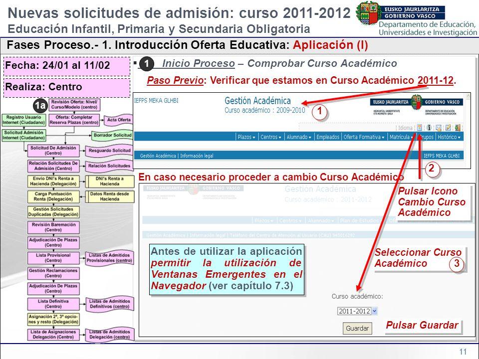 11 1) Inicio Proceso – Comprobar Curso Académico Paso Previo: Verificar que estamos en Curso Académico 2011-12. En caso necesario proceder a cambio Cu