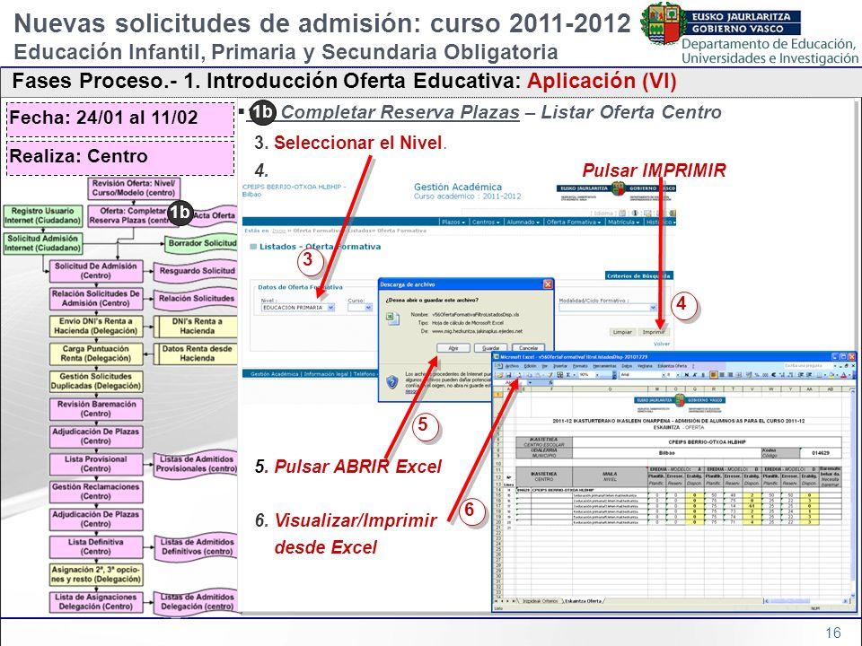 16 1b) Completar Reserva Plazas – Listar Oferta Centro 3. Seleccionar el Nivel. 4. Pulsar IMPRIMIR 5. Pulsar ABRIR Excel 6. Visualizar/Imprimir desde