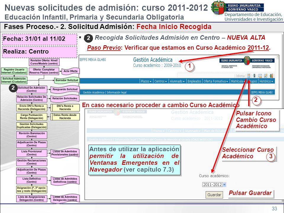 33 2b) Recogida Solicitudes Admisión en Centro – NUEVA ALTA Paso Previo: Verificar que estamos en Curso Académico 2011-12. En caso necesario proceder