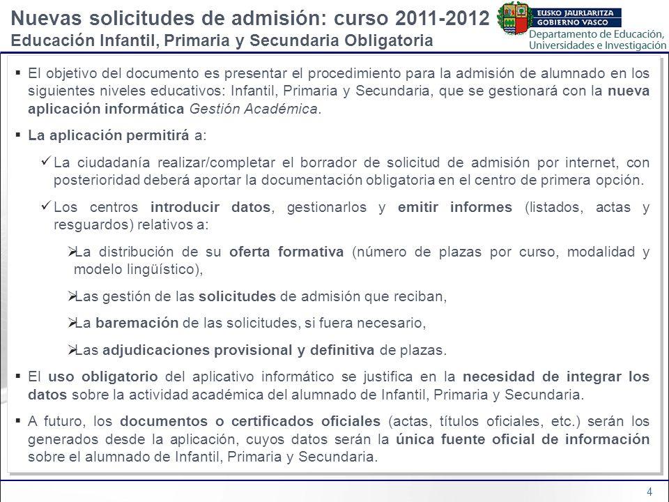 4 El objetivo del documento es presentar el procedimiento para la admisión de alumnado en los siguientes niveles educativos: Infantil, Primaria y Secu