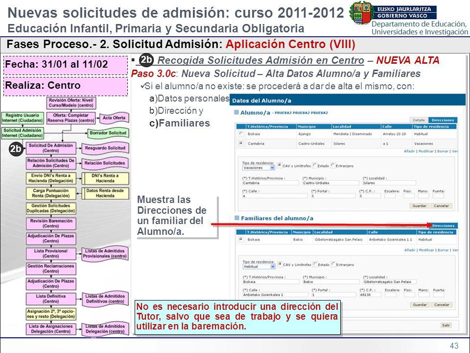 43 2b) Recogida Solicitudes Admisión en Centro – NUEVA ALTA Paso 3.0c: Nueva Solicitud – Alta Datos Alumno/a y Familiares Si el alumno/a no existe: se
