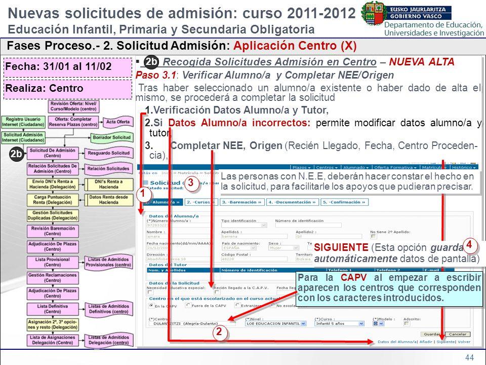 44 2b) Recogida Solicitudes Admisión en Centro – NUEVA ALTA Paso 3.1: Verificar Alumno/a y Completar NEE/Origen Tras haber seleccionado un alumno/a ex