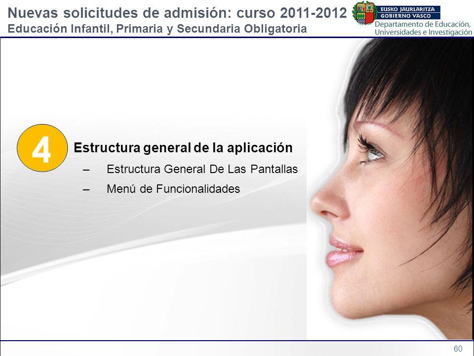 60 4 Estructura general de la aplicación –Estructura General De Las Pantallas –Menú de Funcionalidades Nuevas solicitudes de admisión: curso 2011-2012