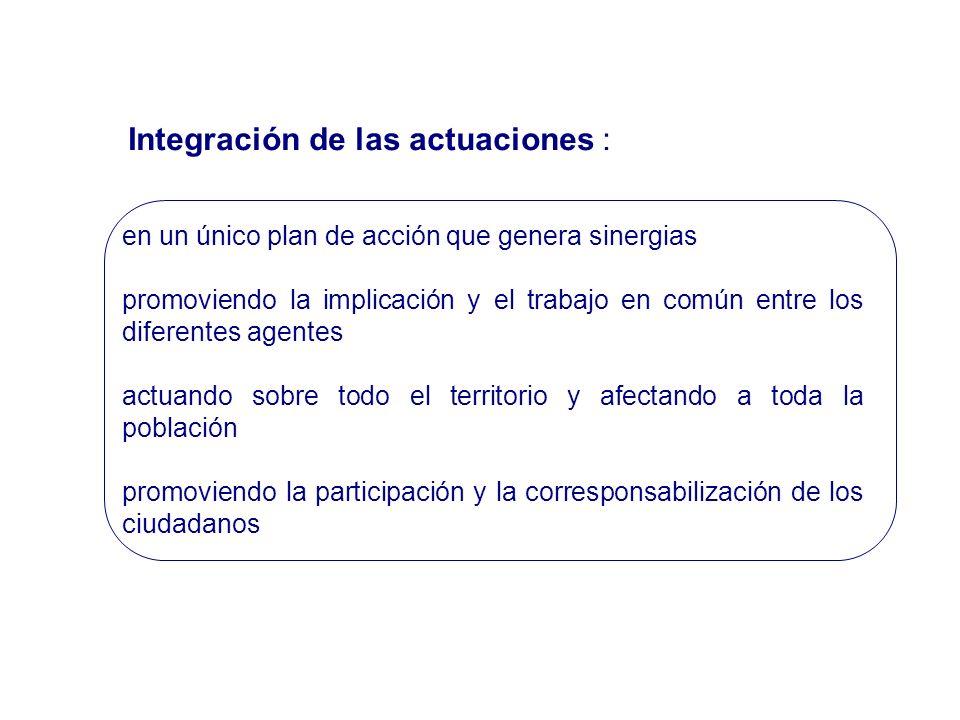 Integración de las actuaciones : en un único plan de acción que genera sinergias promoviendo la implicación y el trabajo en común entre los diferentes