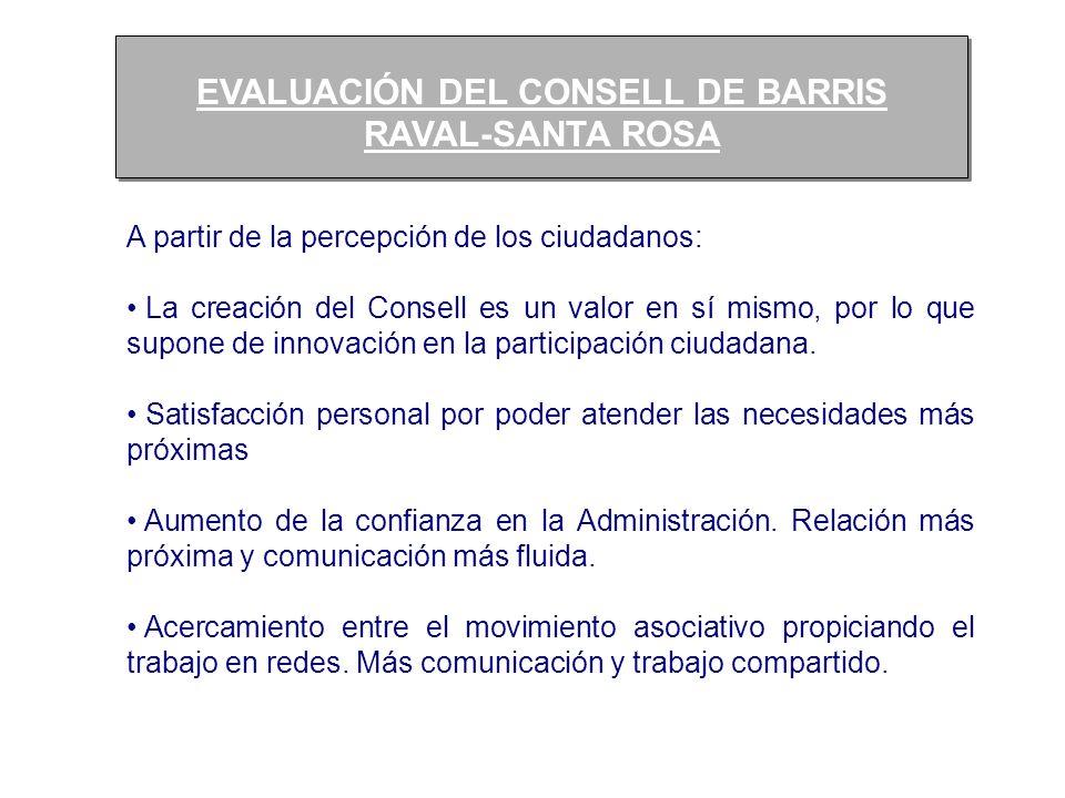EVALUACIÓN DEL CONSELL DE BARRIS RAVAL-SANTA ROSA EVALUACIÓN DEL CONSELL DE BARRIS RAVAL-SANTA ROSA A partir de la percepción de los ciudadanos: La cr