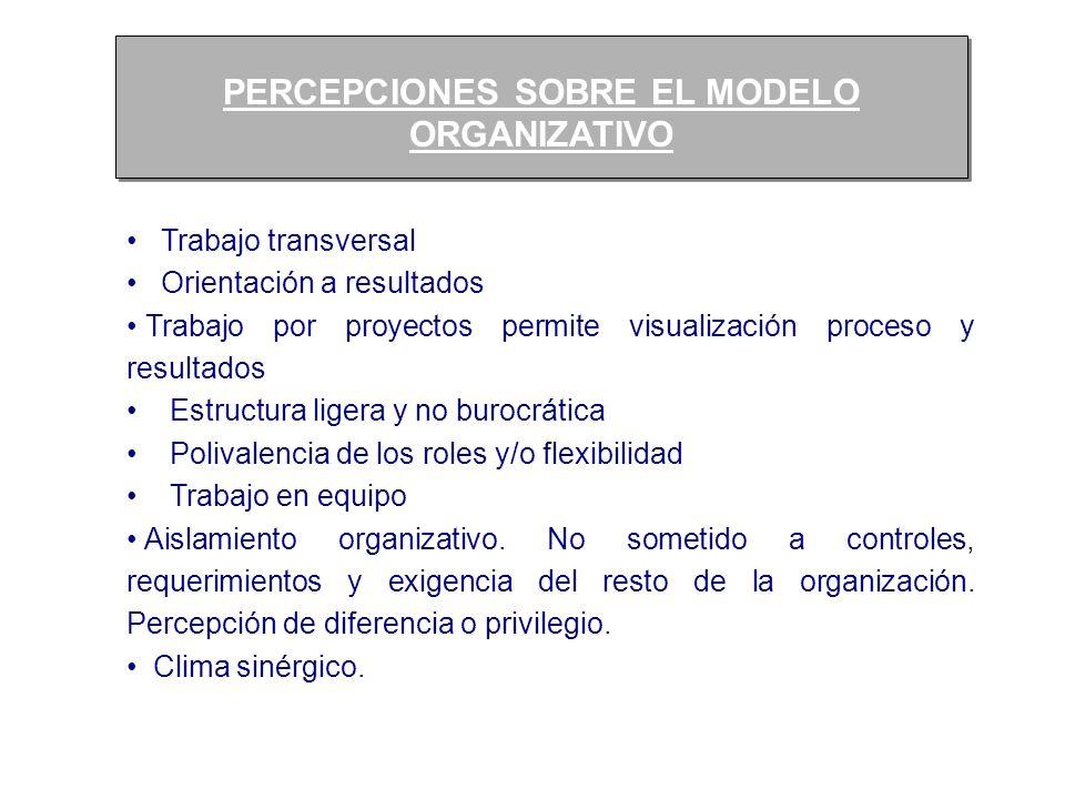 PERCEPCIONES SOBRE EL MODELO ORGANIZATIVO PERCEPCIONES SOBRE EL MODELO ORGANIZATIVO Trabajo transversal Orientación a resultados Trabajo por proyectos