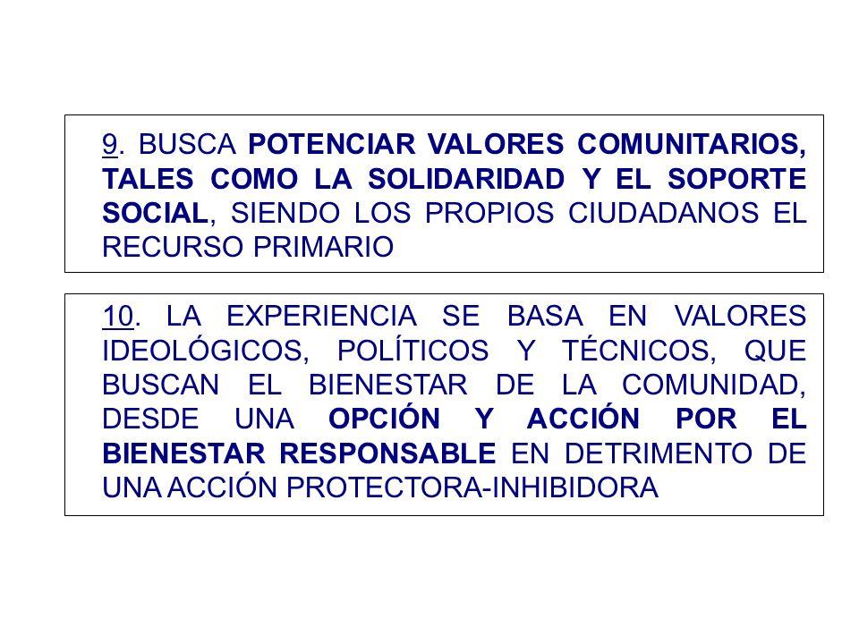 9. BUSCA POTENCIAR VALORES COMUNITARIOS, TALES COMO LA SOLIDARIDAD Y EL SOPORTE SOCIAL, SIENDO LOS PROPIOS CIUDADANOS EL RECURSO PRIMARIO 10. LA EXPER