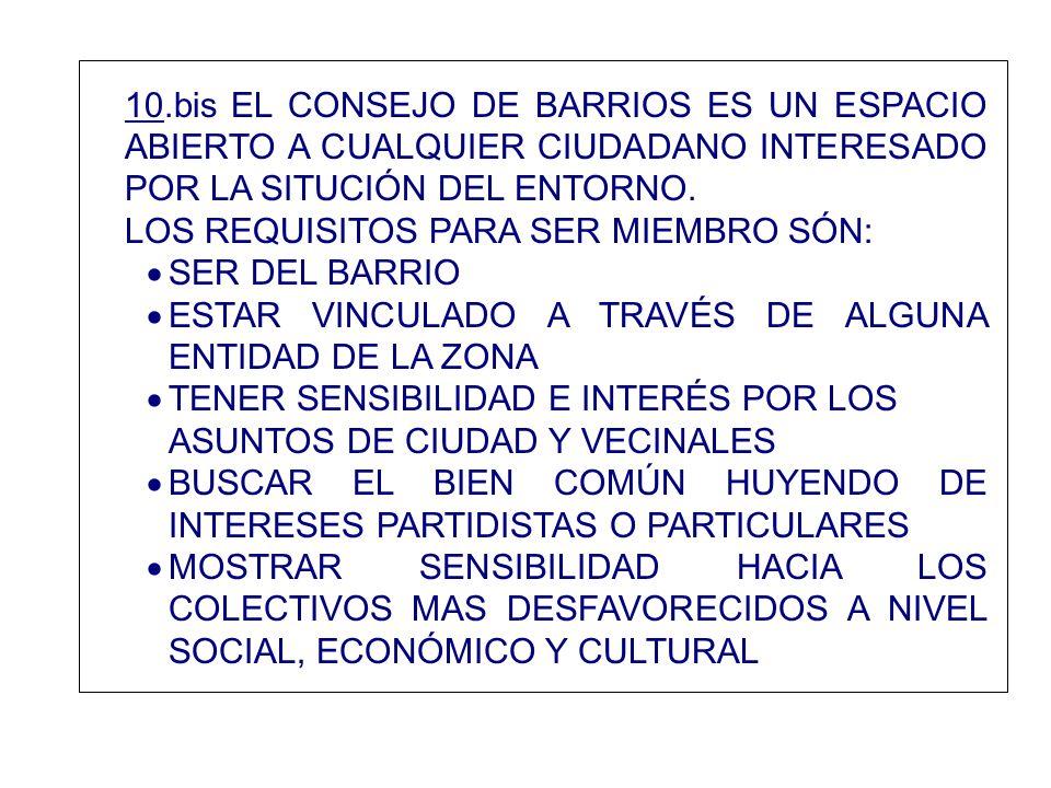 10.bis EL CONSEJO DE BARRIOS ES UN ESPACIO ABIERTO A CUALQUIER CIUDADANO INTERESADO POR LA SITUCIÓN DEL ENTORNO. LOS REQUISITOS PARA SER MIEMBRO SÓN: