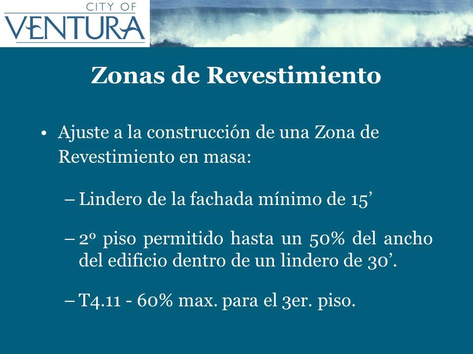 Zonas de Revestimiento Ajuste a la construcción de una Zona de Revestimiento en masa: –Lindero de la fachada mínimo de 15 –2 o piso permitido hasta un