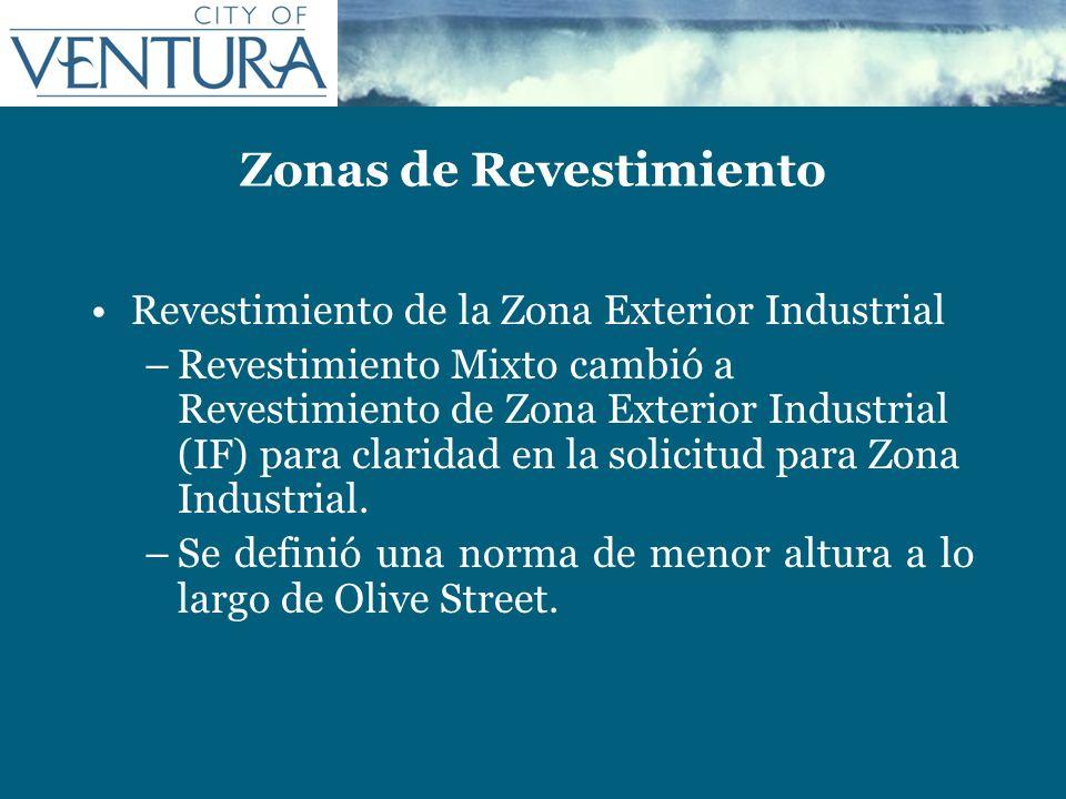 Zonas de Revestimiento Revestimiento de la Zona Exterior Industrial –Revestimiento Mixto cambió a Revestimiento de Zona Exterior Industrial (IF) para