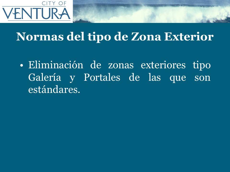 Normas del tipo de Zona Exterior Eliminación de zonas exteriores tipo Galería y Portales de las que son estándares.