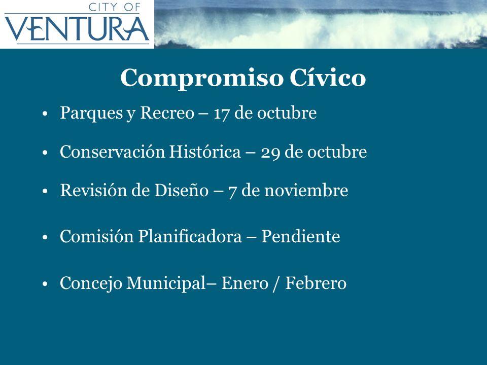 Compromiso Cívico Parques y Recreo – 17 de octubre Conservación Histórica – 29 de octubre Revisión de Diseño – 7 de noviembre Comisión Planificadora –