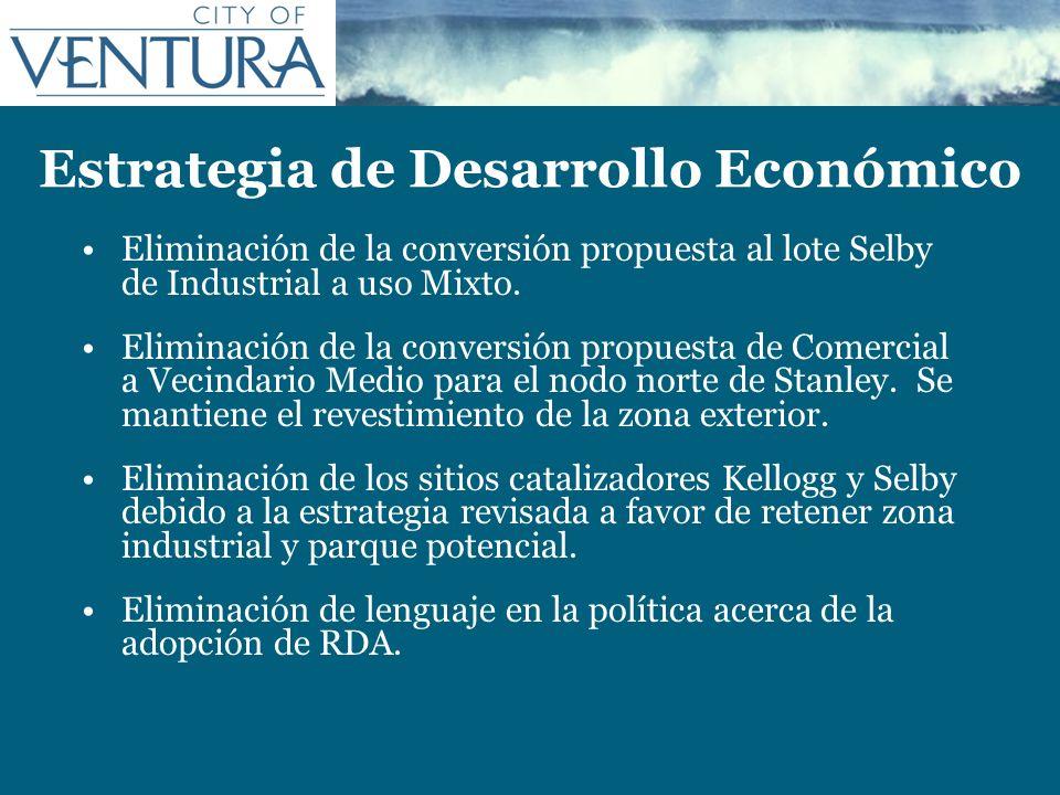 Estrategia de Desarrollo Económico Eliminación de la conversión propuesta al lote Selby de Industrial a uso Mixto. Eliminación de la conversión propue