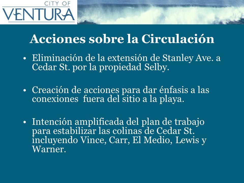 Acciones sobre la Circulación Eliminación de la extensión de Stanley Ave. a Cedar St. por la propiedad Selby. Creación de acciones para dar énfasis a