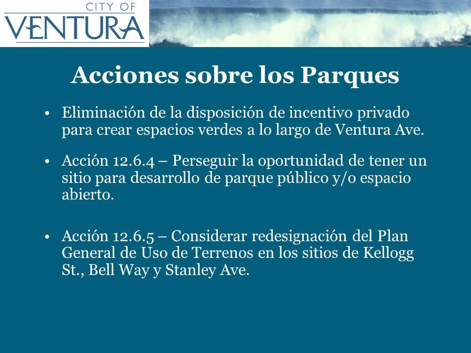 Acciones sobre los Parques Eliminación de la disposición de incentivo privado para crear espacios verdes a lo largo de Ventura Ave. Acción 12.6.4 – Pe
