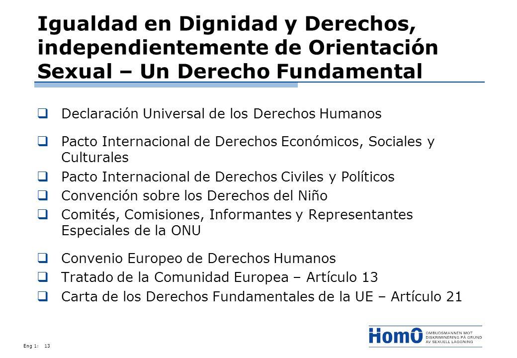 Eng 1:13 Igualdad en Dignidad y Derechos, independientemente de Orientación Sexual – Un Derecho Fundamental Declaración Universal de los Derechos Huma