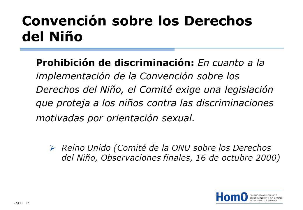 Eng 1:14 Convención sobre los Derechos del Niño Prohibición de discriminación: En cuanto a la implementación de la Convención sobre los Derechos del N