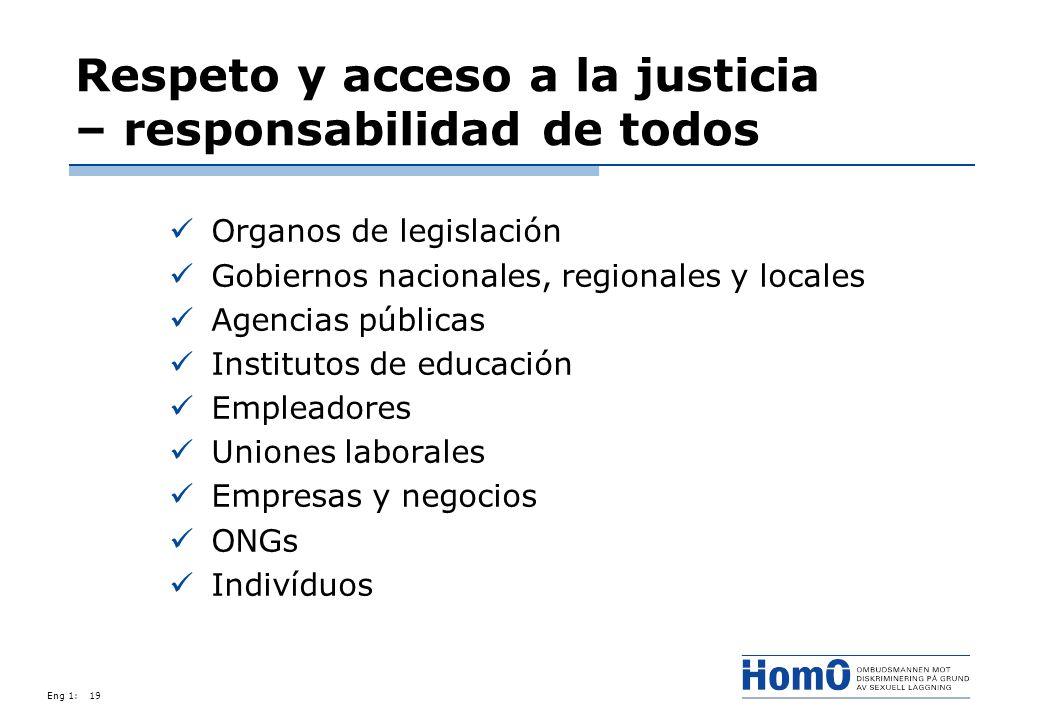 Eng 1:19 Respeto y acceso a la justicia – responsabilidad de todos Organos de legislación Gobiernos nacionales, regionales y locales Agencias públicas