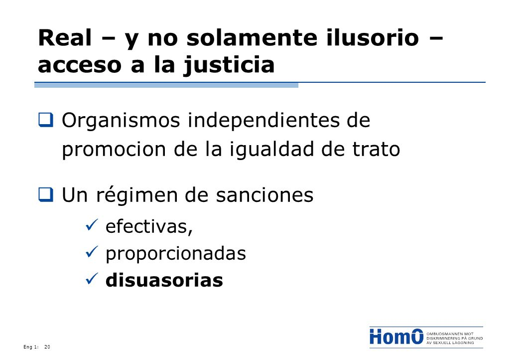 Eng 1:20 Real – y no solamente ilusorio – acceso a la justicia Organismos independientes de promocion de la igualdad de trato Un régimen de sanciones