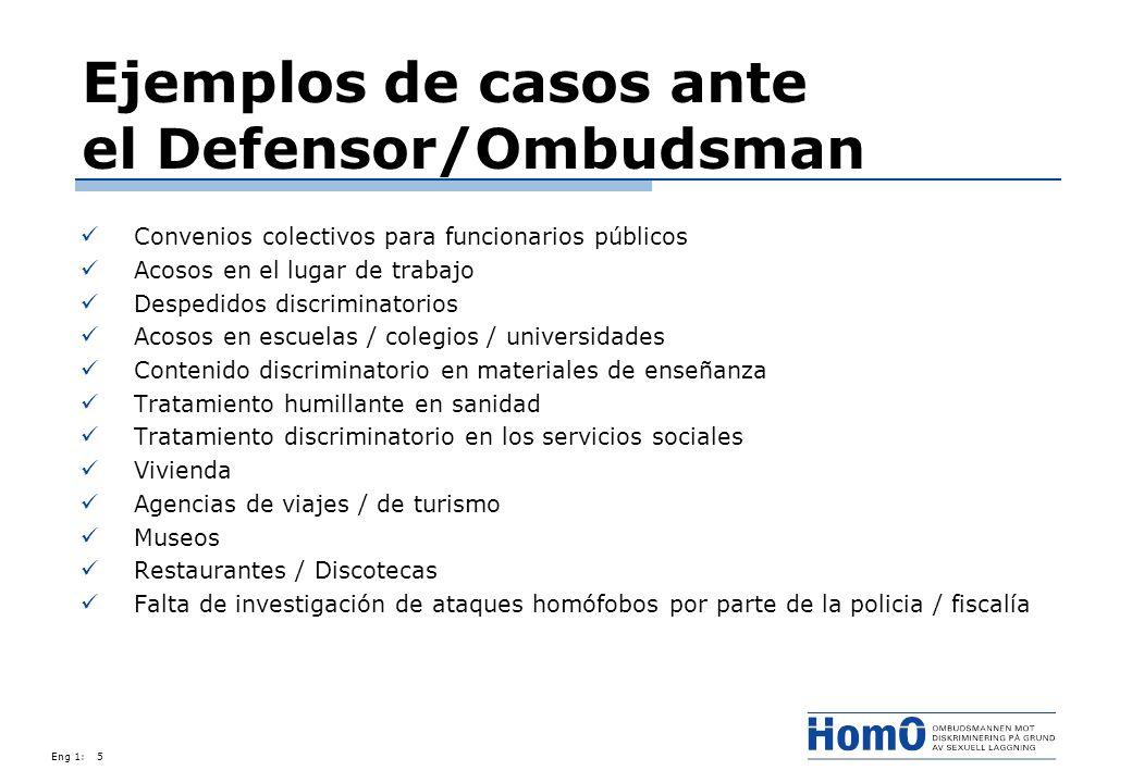Eng 1:5 Ejemplos de casos ante el Defensor/Ombudsman Convenios colectivos para funcionarios públicos Acosos en el lugar de trabajo Despedidos discrimi