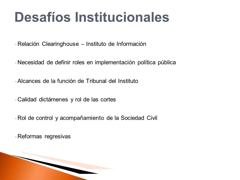 Desafíos Institucionales Relación Clearinghouse – Instituto de Información Necesidad de definir roles en implementación política pública Alcances de l