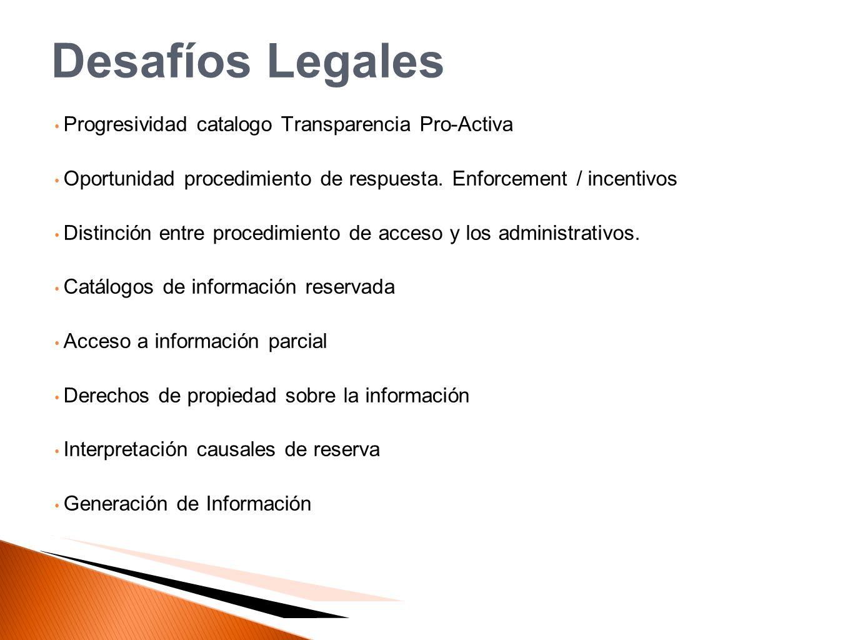 Desafíos Legales Progresividad catalogo Transparencia Pro-Activa Oportunidad procedimiento de respuesta. Enforcement / incentivos Distinción entre pro