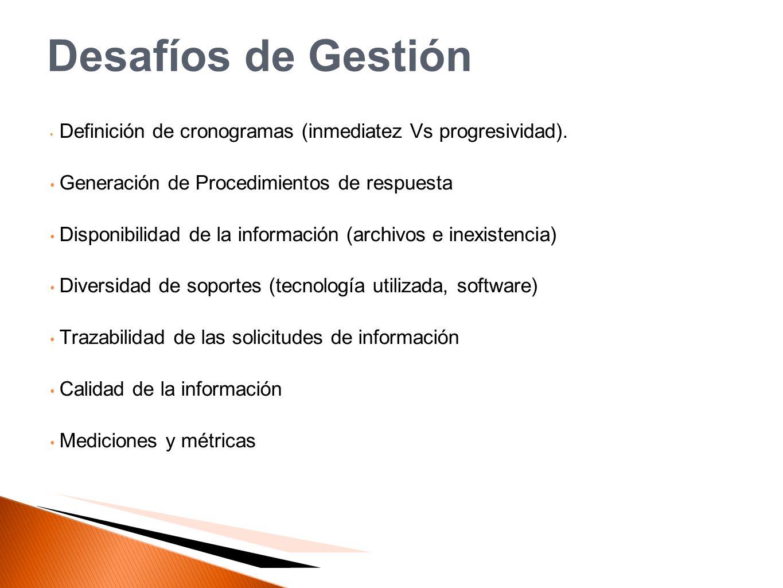 Desafíos de Gestión Definición de cronogramas (inmediatez Vs progresividad). Generación de Procedimientos de respuesta Disponibilidad de la informació