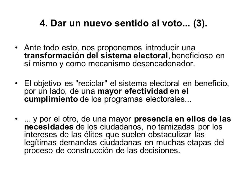 4. Dar un nuevo sentido al voto... (3). Ante todo esto, nos proponemos introducir una transformación del sistema electoral, beneficioso en sí mismo y