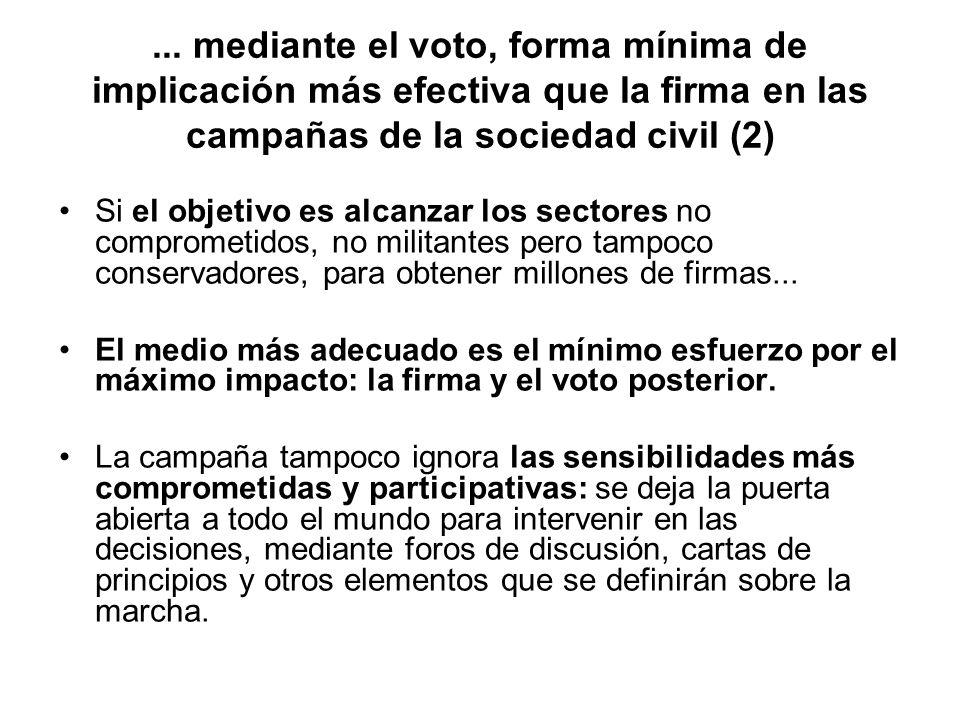 ... mediante el voto, forma mínima de implicación más efectiva que la firma en las campañas de la sociedad civil (2) Si el objetivo es alcanzar los se