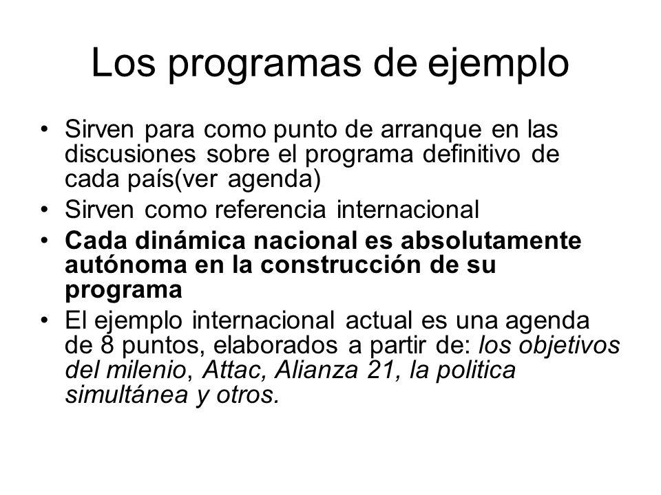 Los programas de ejemplo Sirven para como punto de arranque en las discusiones sobre el programa definitivo de cada país(ver agenda) Sirven como refer