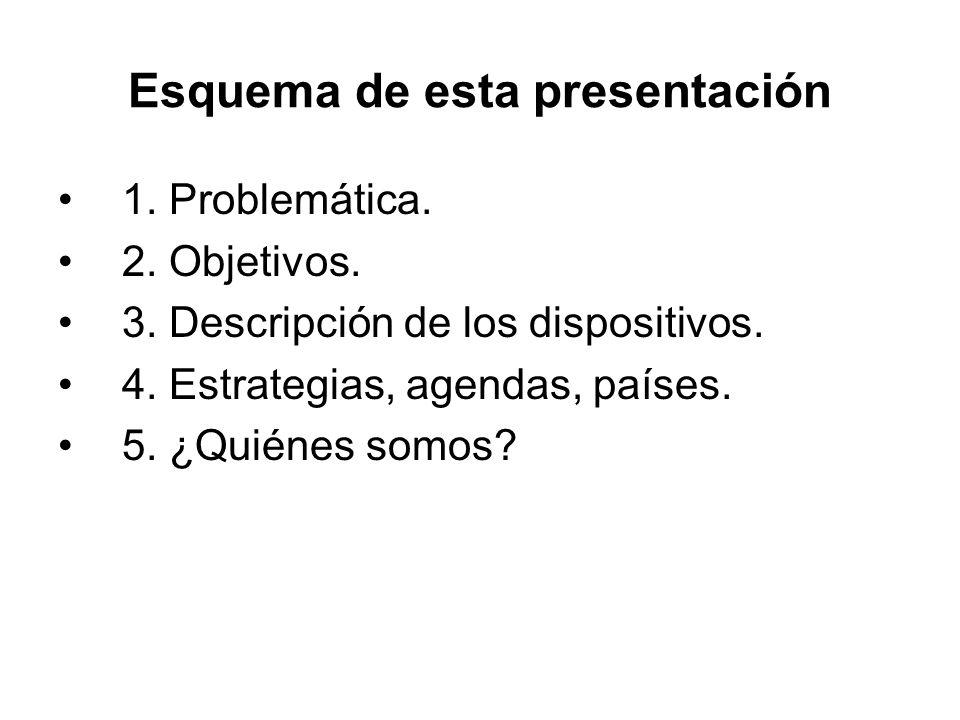Esquema de esta presentación 1. Problemática. 2. Objetivos. 3. Descripción de los dispositivos. 4. Estrategias, agendas, países. 5. ¿Quiénes somos?