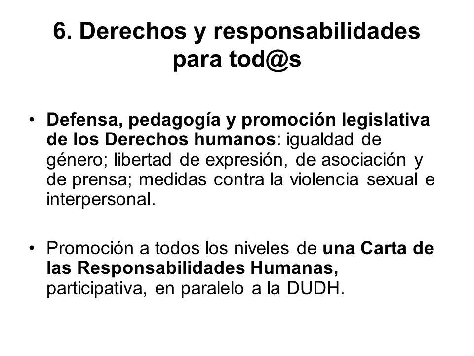 6. Derechos y responsabilidades para tod@s Defensa, pedagogía y promoción legislativa de los Derechos humanos: igualdad de género; libertad de expresi
