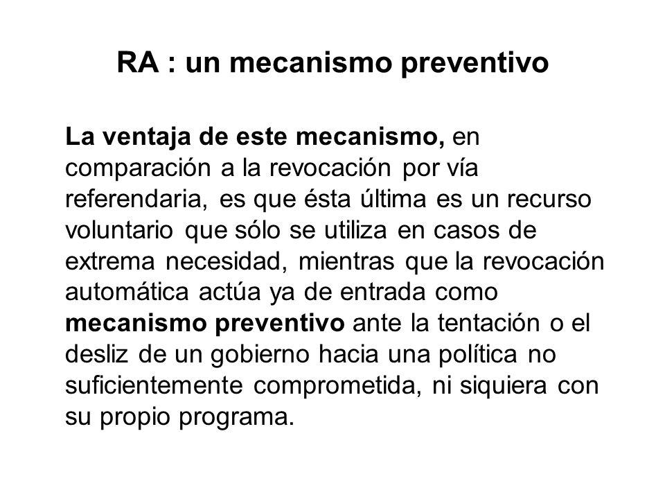 RA : un mecanismo preventivo La ventaja de este mecanismo, en comparación a la revocación por vía referendaria, es que ésta última es un recurso volun