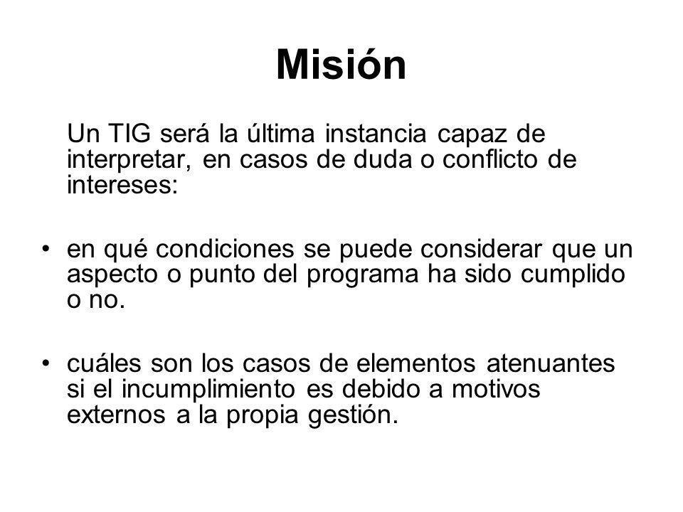 Misión Un TIG será la última instancia capaz de interpretar, en casos de duda o conflicto de intereses: en qué condiciones se puede considerar que un