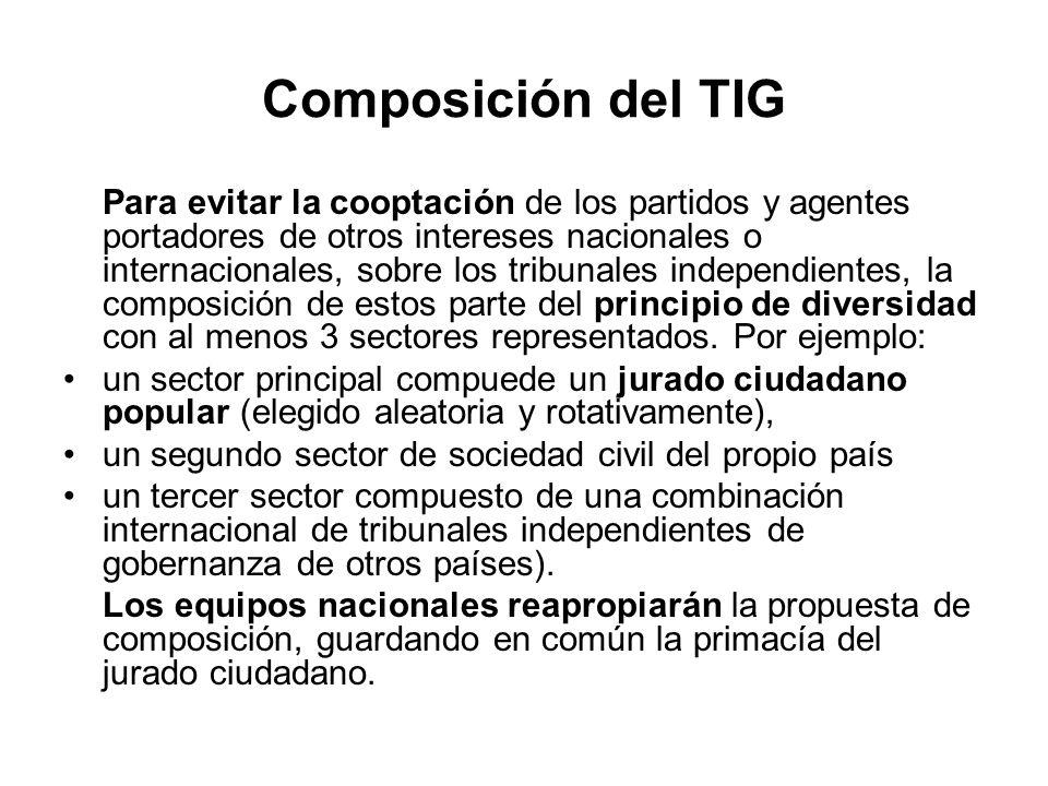 Composición del TIG Para evitar la cooptación de los partidos y agentes portadores de otros intereses nacionales o internacionales, sobre los tribunal