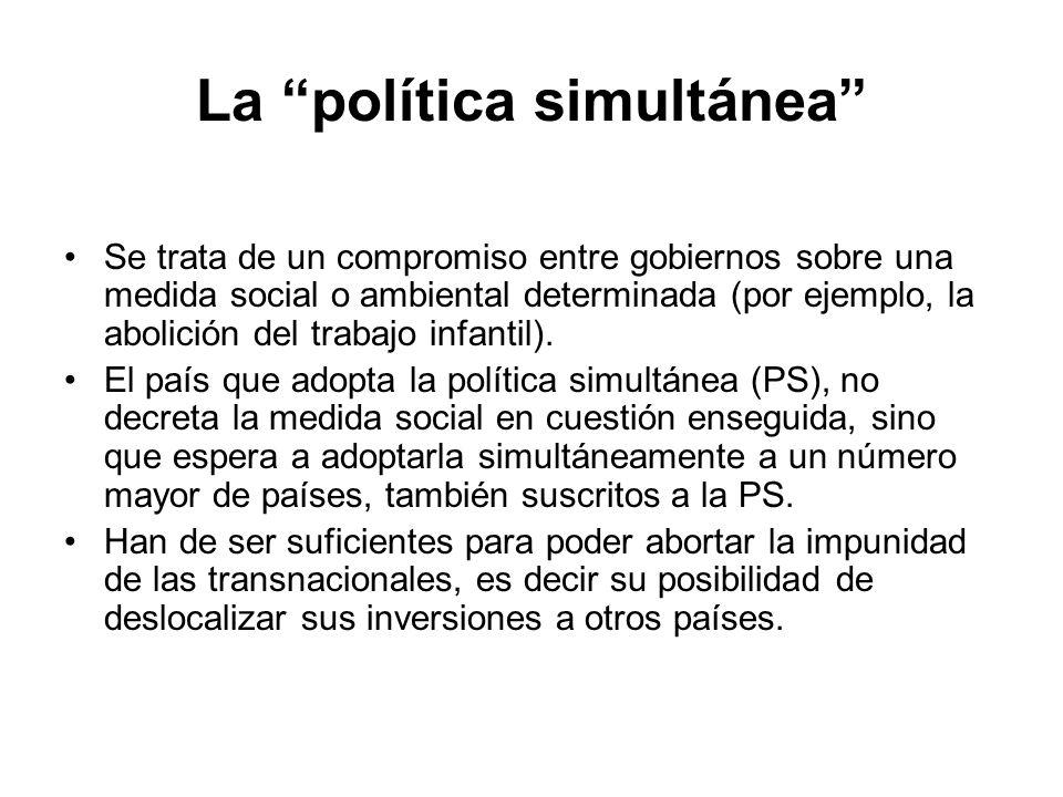 La política simultánea Se trata de un compromiso entre gobiernos sobre una medida social o ambiental determinada (por ejemplo, la abolición del trabaj
