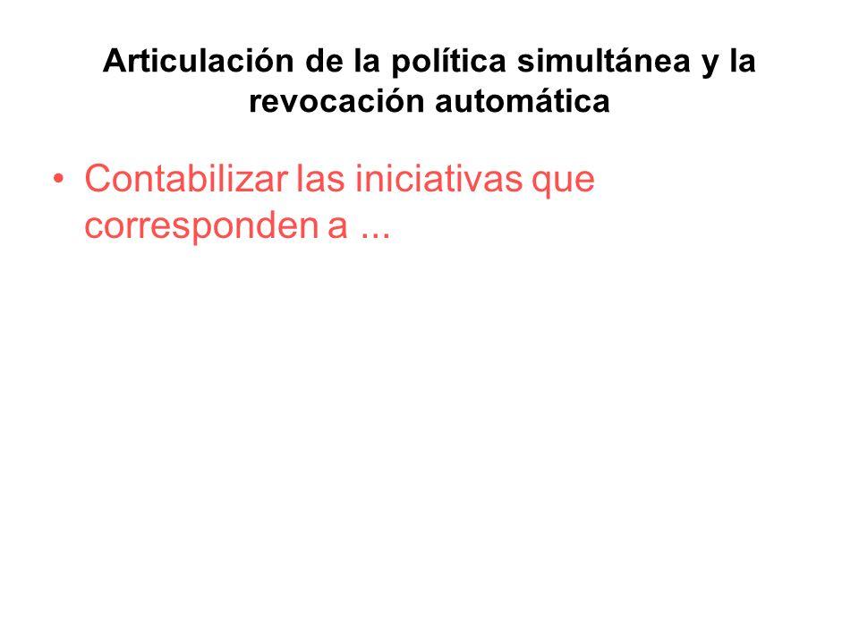 Articulación de la política simultánea y la revocación automática Contabilizar las iniciativas que corresponden a...