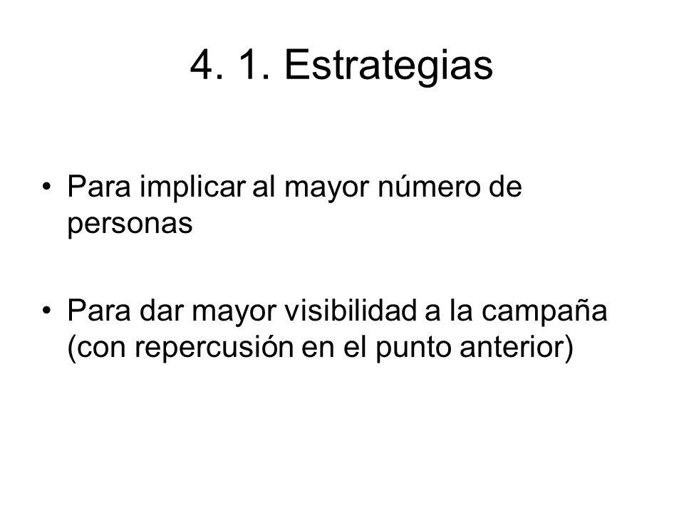 4. 1. Estrategias Para implicar al mayor número de personas Para dar mayor visibilidad a la campaña (con repercusión en el punto anterior)