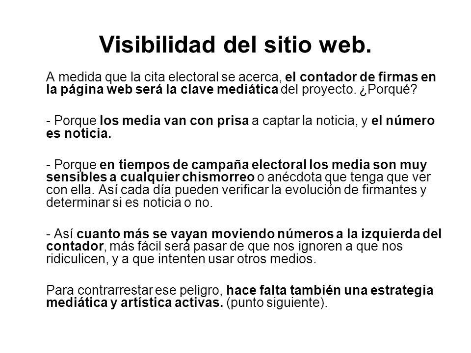 Visibilidad del sitio web. A medida que la cita electoral se acerca, el contador de firmas en la página web será la clave mediática del proyecto. ¿Por