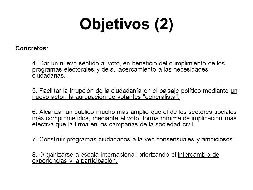 Objetivos (2) Concretos: 4. Dar un nuevo sentido al voto, en beneficio del cumplimiento de los programas electorales y de su acercamiento a las necesi