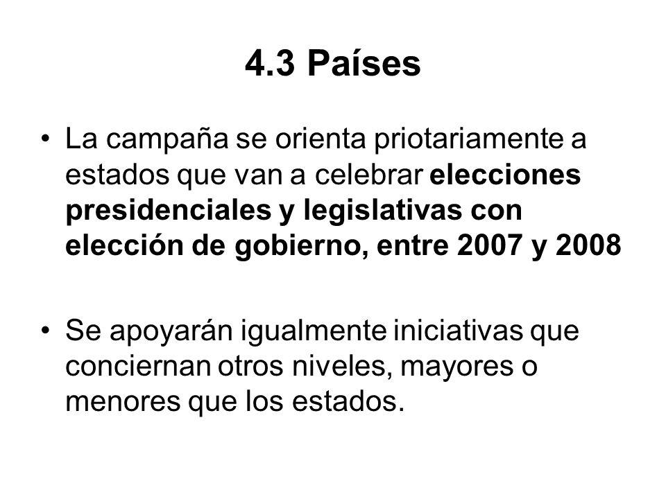 4.3 Países La campaña se orienta priotariamente a estados que van a celebrar elecciones presidenciales y legislativas con elección de gobierno, entre