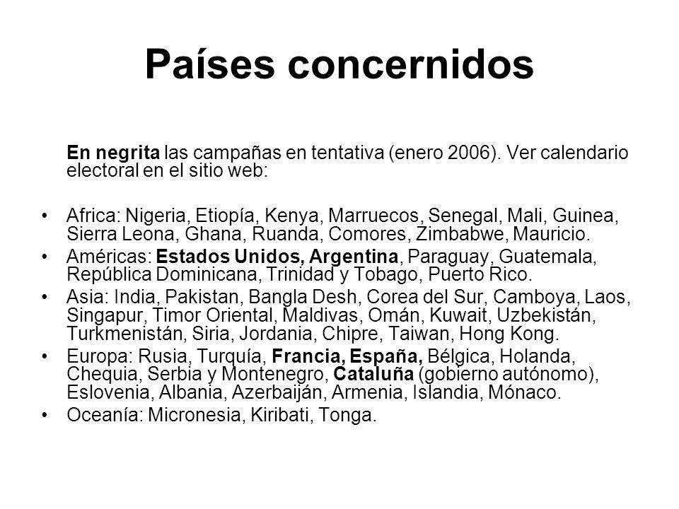 Países concernidos En negrita las campañas en tentativa (enero 2006). Ver calendario electoral en el sitio web: Africa: Nigeria, Etiopía, Kenya, Marru