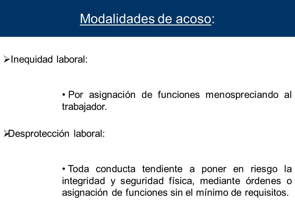 Modalidades de acoso: Inequidad laboral: Por asignación de funciones menospreciando al trabajador. Desprotección laboral: Toda conducta tendiente a po