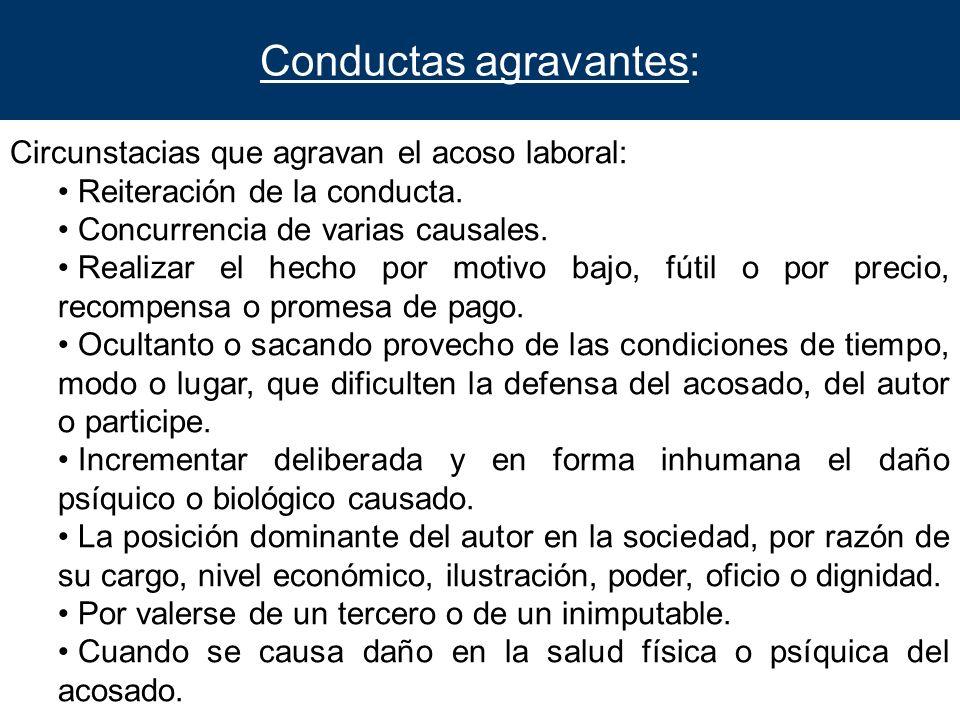 Conductas agravantes: Circunstacias que agravan el acoso laboral: Reiteración de la conducta. Concurrencia de varias causales. Realizar el hecho por m